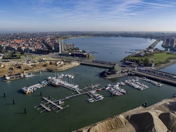 Luchtfoto achterhaven Oostende