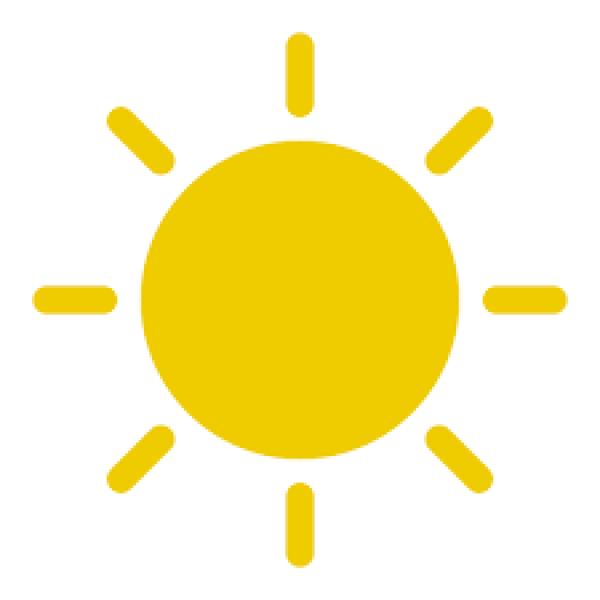 Icoontje van een zon om te verwijzen naar kustweerbericht