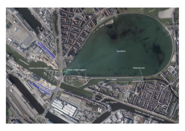 Plan van verschillende constructies in de achterhaven van Oostende