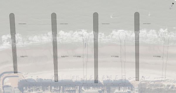 Plan met indeling van de nieuwe strandhoofden