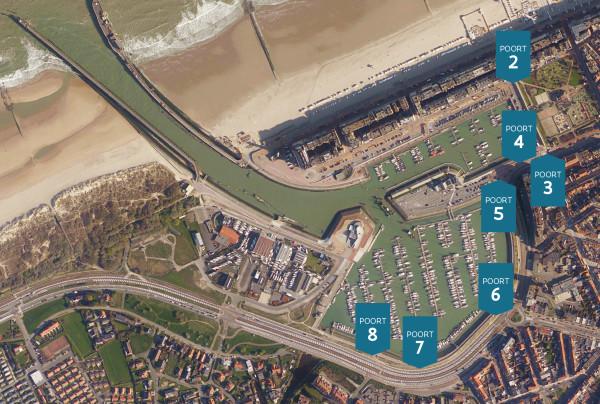 Plan met overzicht waar mobiele keringen rond de haven komen