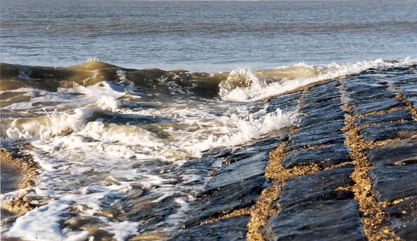 Detailbeeld van een strandhoofd