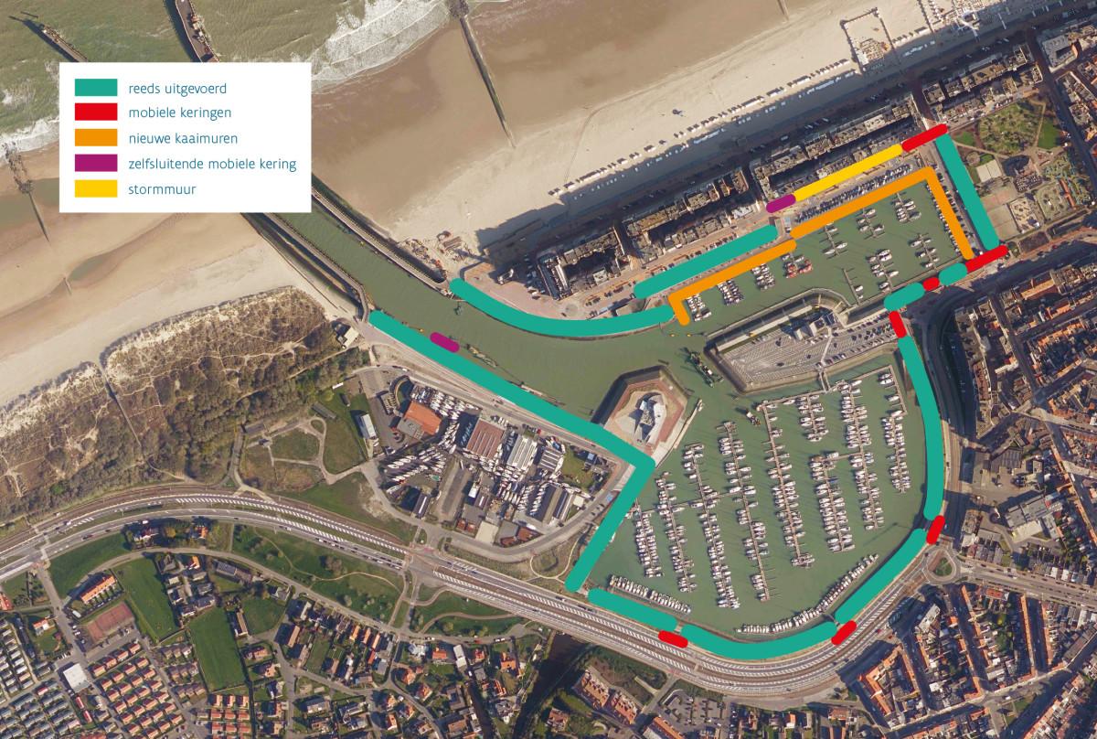 Plan met overzicht van de werken rond de jachthaven van Blankenberge