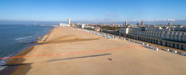 Panoramafoto van strand van Oostende